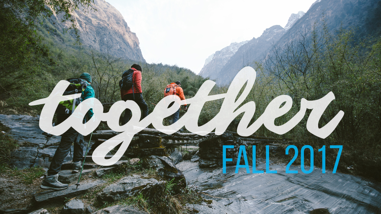 Together Fall 2017 logo with mountains and hikers in background
